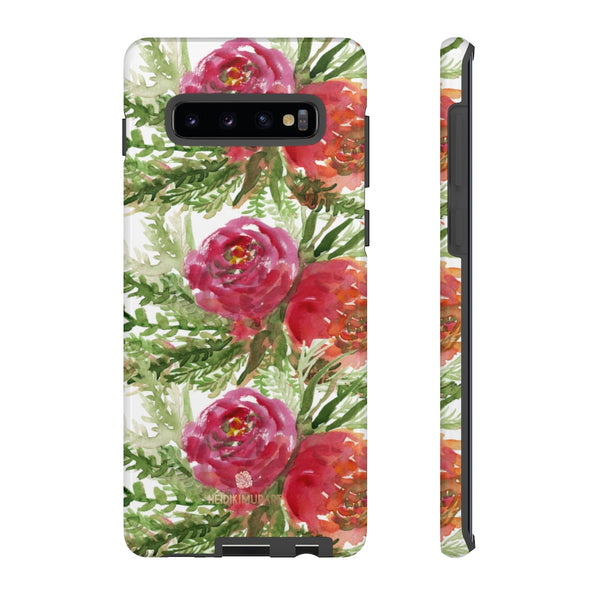 Red Orange Floral Phone Case, Flower Print Tough Designer Phone Case -Made in USA-Phone Case-Printify-Samsung Galaxy S10 Plus-Glossy-Heidi Kimura Art LLC