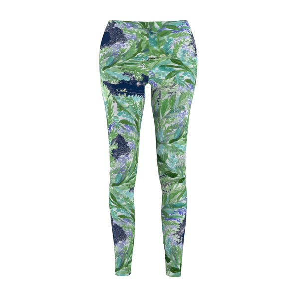 Navy Blue French Lavender Floral Print Women's Casual Leggings Tights- Made in USA-Casual Leggings-M-Heidi Kimura Art LLC