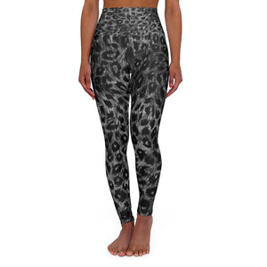 Grey Leopard Women's Leggings, Premium Animal Print High Waisted Yoga Pants-Made in USA-All Over Prints-Printify-XL-Heidi Kimura Art LLC