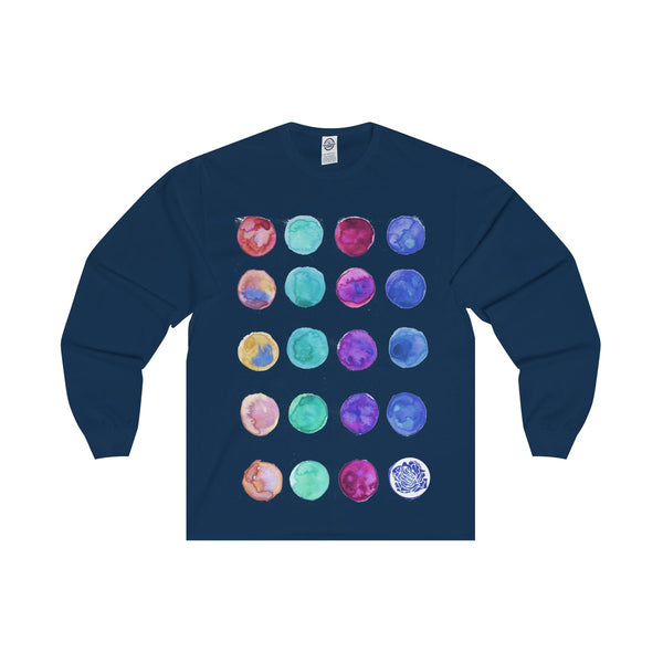 Polka Dots Unisex Designer Premium Long Sleeve Tee - Designed + Made in USA-Long-sleeve-Navy-S-Heidi Kimura Art LLC