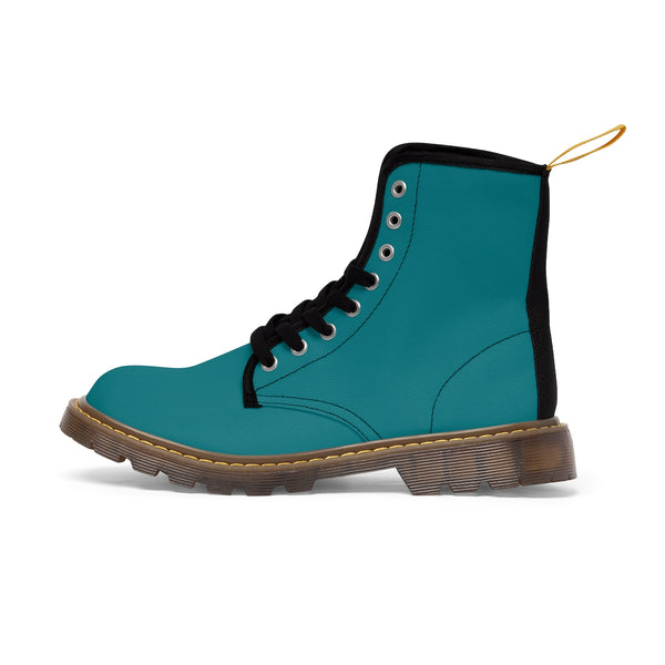 Blue Teal Classic Solid Color Designer Comfy Women's Winter Lace-up Toe Cap Boots-Women's Boots-Brown-US 10-Heidi Kimura Art LLC Blue Teal Women's Boots, Blue Teal Classic Solid Color Comfortable Designer Women's Winter Lace-up Toe Cap Combat Winter Blue Ankle Boots, Best Blue Boots For Women, Hiking Boots, Hiker's Boots (US Size 6.5-11)