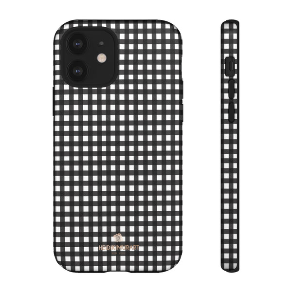 Buffalo Plaid Print Phone Case, Black White Tough Designer Phone Case -Made in USA-Phone Case-Printify-iPhone 12-Glossy-Heidi Kimura Art LLC