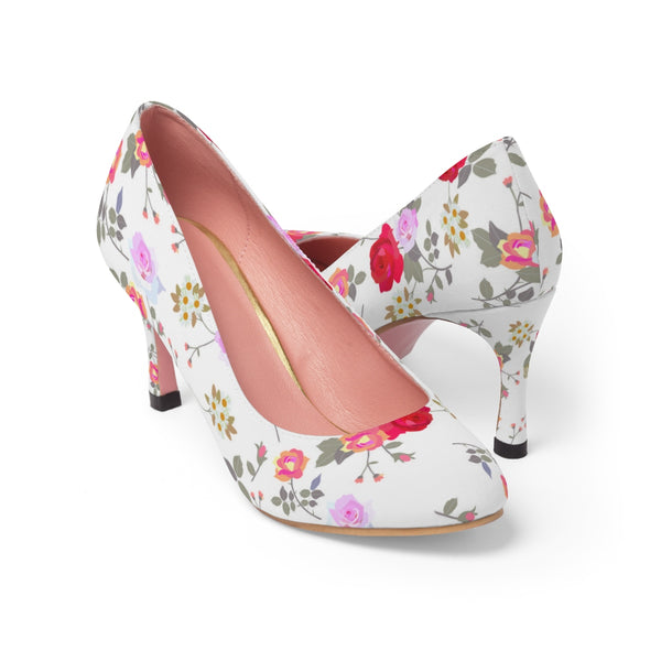 Mixed Floral Rose Print Vintage Style Designer Women's High Heels Shoes (US Size: 5-11) - Heidi Kimura Art LLC
