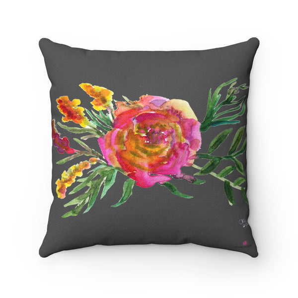 Pink Rose Girlie Floral Print Pink Rose Gray Spun Polyester Square Pillow - Made in USA-Pillow-14x14-Heidi Kimura Art LLC
