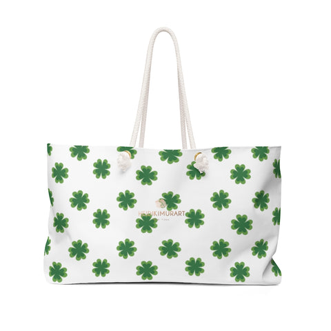 White Green Clover Print St. Patrick's Day Designer Large Weekender Tote Bag- Made in USA-Weekender Bag-24x13-Heidi Kimura Art LLC
