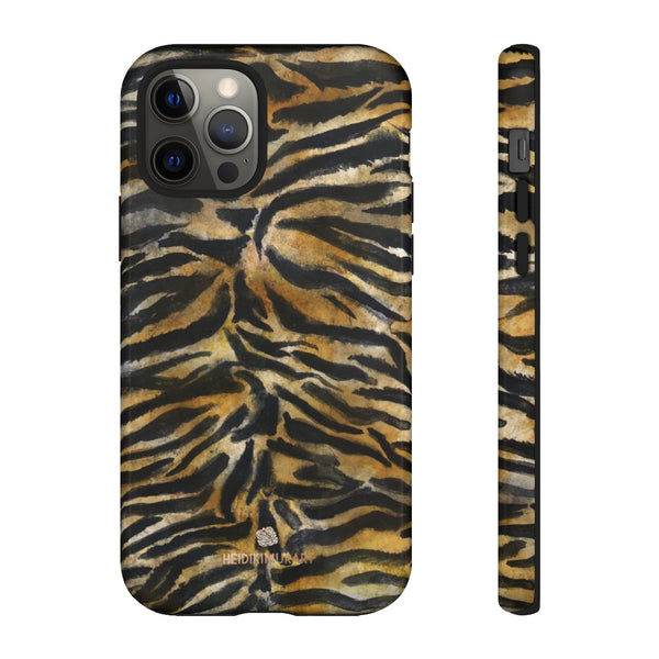 Brown Tiger Striped Tough Cases, Animal Print Best Designer Phone Case-Made in USA-Phone Case-Printify-iPhone 12 Pro-Glossy-Heidi Kimura Art LLC