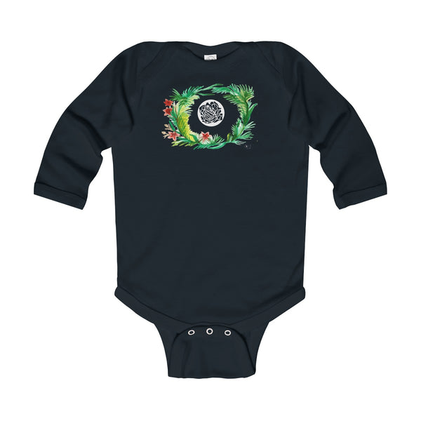 Fall Floral Print Baby's Infant Cotton Long Sleeve Bodysuit -Made in UK (UK Size: 6M-24M)-Kids clothes-Black-12M-Heidi Kimura Art LLC