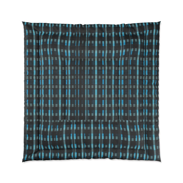 Blue Tartan Plaid Print Luxury Designer Best Comforter For King/Queen/Full/Twin Bed-Comforter-88x88-Heidi Kimura Art LLC