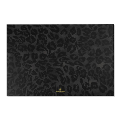 "Sexy Black Leopard Animal Print Designer 24x36, 36x60, 48x72 inches Area Rugs - Printed in USA-Area Rug-72"" x 48""-Heidi Kimura Art LLC Black Leopard Rug, Sexy Black Leopard Animal Print Designer 24x36, 36x60, 48x72 inches Machine Washable Area Rugs, Large Carpet-Printed in the USA"