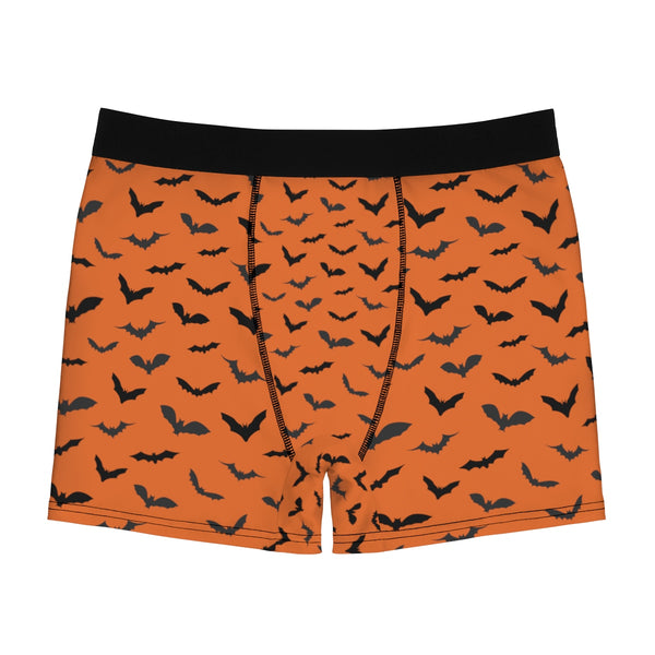 Black Orange Halloween Flying Bats Designer Gay Men's Boxer Briefs (US Size: XS-3XL)-Men's Underwear-Heidi Kimura Art LLC