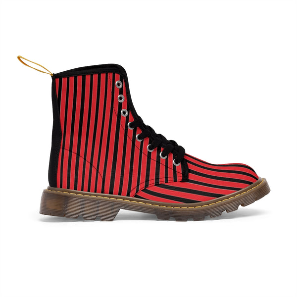 Red Striped Print Men's Boots, Black Stripes Best Hiking Winter Boots Laced Up Shoes For Men-Shoes-Printify-Heidi Kimura Art LLC