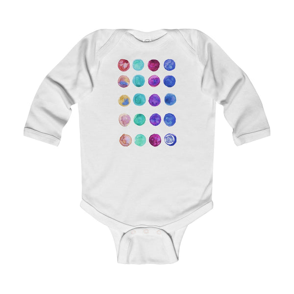 Polka Dots Print Baby's Cute Infant Long Sleeve Bodysuit - Made in UK (UK Size: 6M-24M)-Kids clothes-White-12M-Heidi Kimura Art LLC