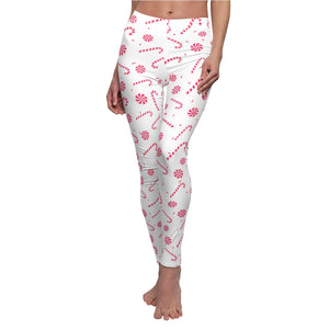 Red and White Candy Cane Print Women's Christmas Casual Leggings - Made in USA-Casual Leggings-White Seams-M-Heidi Kimura Art LLC