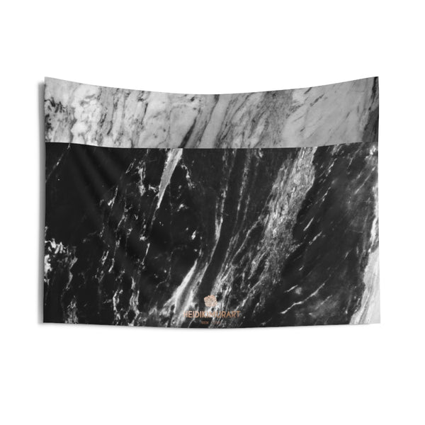 Grey Black Marble Print Designer Indoor Wall Tapestries- Made in USA-Home Decor-36x26-Heidi Kimura Art LLC