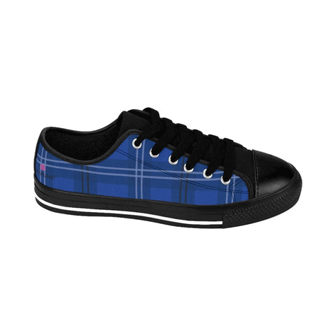 Royal Blue Plaid Women's Sneakers, Tartan Print Designer Low Top Fashion Tennis Shoes Women's Sneakers Shoes (US Size: 6-12)
