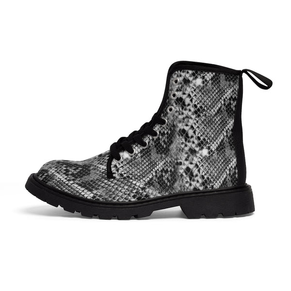 Grey Snake Women's Canvas Boots, Best Snake Animal Print Winter Boots For Ladies-Shoes-Printify-Heidi Kimura Art LLC