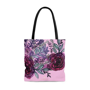 Light Pink Rose Cute Flower Floral Print Women's Designer Tote Bag - Made in USA-Tote Bag-Large-Heidi Kimura Art LLC