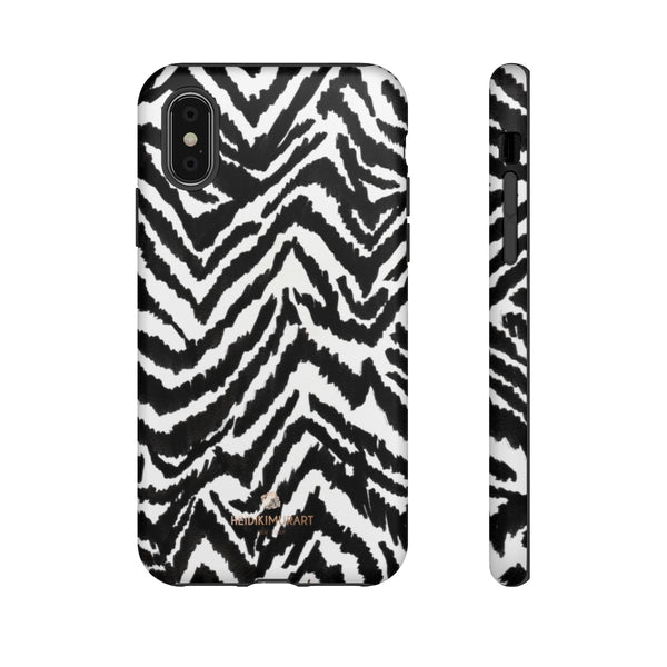 White Tiger Stripe Phone Case, Animal Print Best Tough Designer Phone Case -Made in USA-Phone Case-Printify-iPhone X-Matte-Heidi Kimura Art LLC