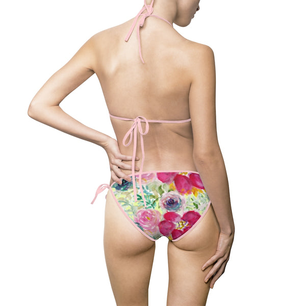 Pink Mixed Rose Floral Print Flower Women's Bikini Swimsuit Swimwear (US Size: S-5XL)-Swimwear-Heidi Kimura Art LLC