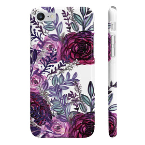 White Purple Rose Slim iPhone/ Samsung Galaxy Floral Print Phone Case, Made in UK-Phone Case-iPhone 7, iPhone 8 Slim-Glossy-Heidi Kimura Art LLC