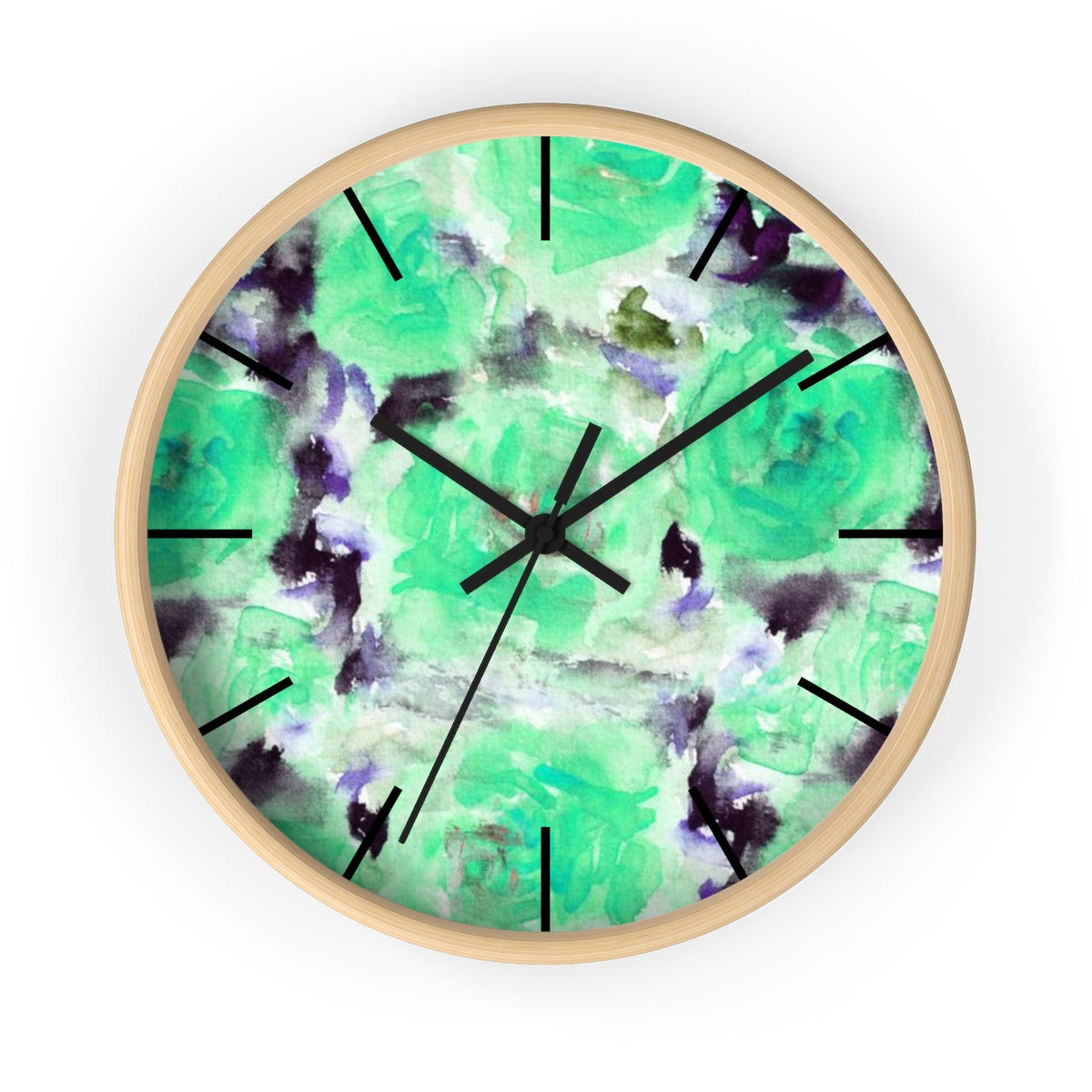 "Turquoise Blue Floral Print Abstract Rose 10"" Diameter Wall Clock - Made in USA-Wall Clock-Wooden-Black-Heidi Kimura Art LLC"