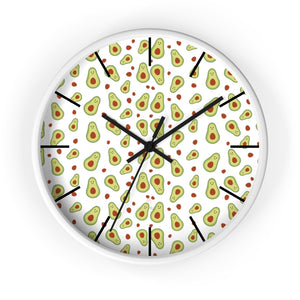 "Avocado Print Large Wall Clocks, 10"" Dia. Clock For Avocado Vegan Lovers- Made in USA-Wall Clock-10 in-White-Black-Heidi Kimura Art LLC"