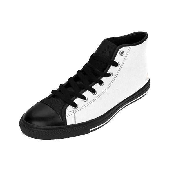 Men's Simple White Sneakers, Clean White Solid Color Print Designer Men's Shoes, Men's High Top Sneakers US Size 6-14, Mens High Top Casual Shoes, Unique Fashion Tennis Shoes, Solid Color Sneakers, Mens Modern Footwear (US Size: 6-14)