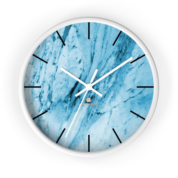 "Blue White Marble Print Art Large Indoor 10"" inch dia. Designer Wall Clock-Made in USA-Wall Clock-10 in-White-White-Heidi Kimura Art LLC"