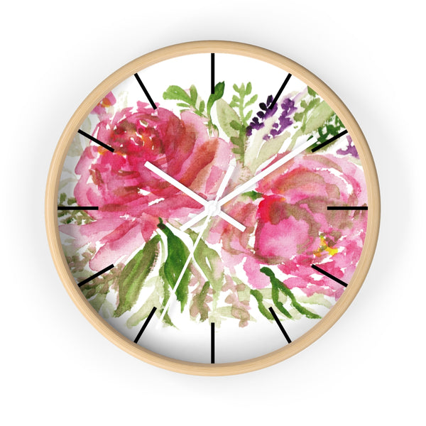 Pink Spring Rose Floral Print Flower 10 inch Diameter Flower Wall Clock - Made in USA-Wall Clock-Wooden-White-Heidi Kimura Art LLC