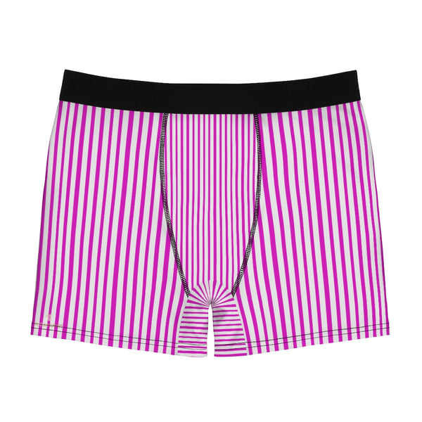 Pink Striped Men's Boxer Briefs, Vertical Stripe Print Premium Quality Underwear For Men-All Over Prints-Printify-Heidi Kimura Art LLC