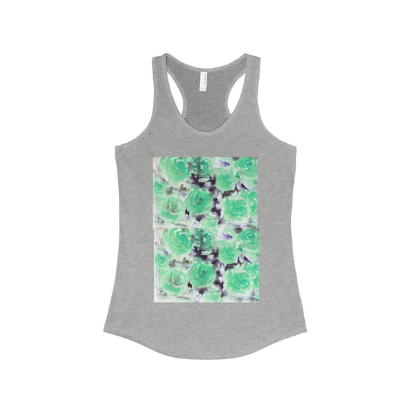 Nobusuke Ice Blue Rose Floral Women's Ideal Racerback Tank -Made in the U.S.A. (US Size: XS-2XL)-Tank Top-90/10 Heather Gray-XS-Heidi Kimura Art LLC