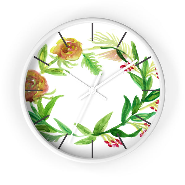 Orange Red Fall Roses Floral Print 10 inch Diameter Unique Wall Clock - Made in USA-Wall Clock-White-White-Heidi Kimura Art LLC