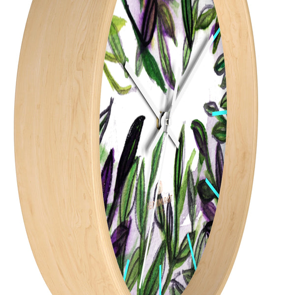 Green Purple Tropical Leaf Print Designer 10 in. Dia. Indoor Wall Clock- Made in USA-Wall Clock-Heidi Kimura Art LLC