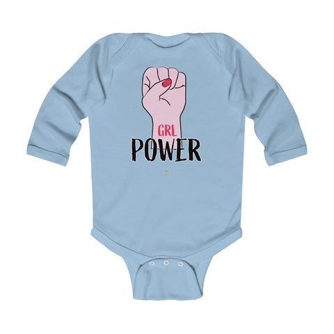 Girl Power Baby Girls Premium Infant Kids Long Sleeve Bodysuit Clothes - Made in USA-Infant Long Sleeve Bodysuit-Light Blue-18M-Heidi Kimura Art LLC