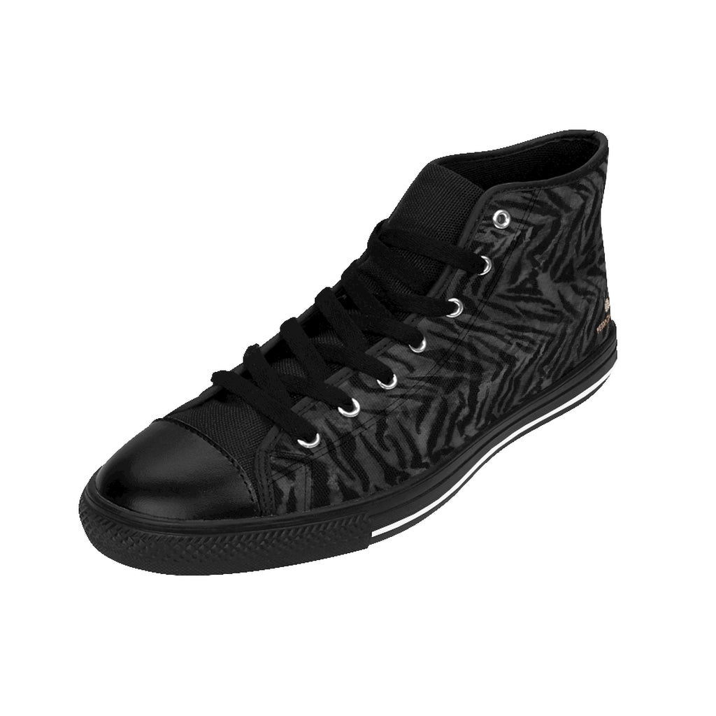 Grey Tiger Men's High-top Sneakers, Gray Animal Striped Print Designer Men's Shoes, Men's High Top Sneakers US Size 6-14, Mens High Top Casual Shoes, Unique Fashion Tennis Shoes, Tiger Print Canvas Sneakers, Mens Modern Footwear, Wildlife Gift Idea, Animal Lover Print Shoes (US Size: 6-14)
