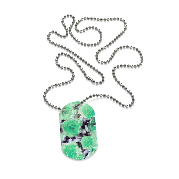 Friendly Cute Blue Rose Floral Print Dog Tag Pet Necklace Accessories - Made in USA-Dog Tag-Heidi Kimura Art LLC