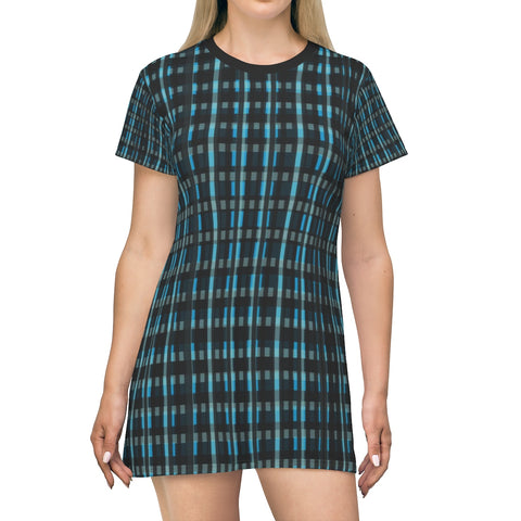 Dark Blue Plaid Tartan Print Designer Crew Neck T-Shirt Dress-Made in USA-T-Shirt Dress-L-Heidi Kimura Art LLC