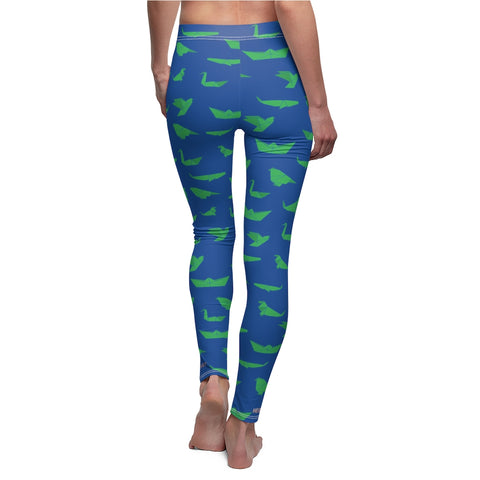 Blue Green Japanese Crane Origami Print Women's Dressy Casual Leggings-Made in USA-Casual Leggings-White Seams-M-Heidi Kimura Art LLC Blue Japanese Crane Women's Leggings, Blue Green Japanese Crane Origami Print Women's Tights / Fancy Dressy Fashion Designer Casual Leggings - Made in USA (US Size: XS-2XL) Crane Print Pants, Japanese Leisure Pants Crane Printed Leggings, Japanese Style Leggings