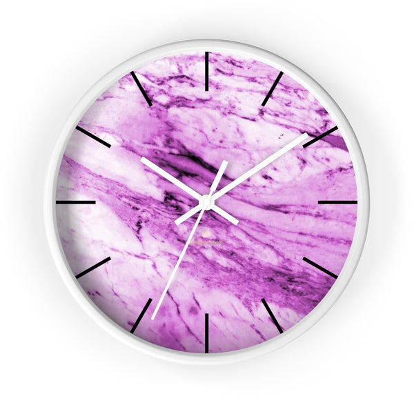 "Pink White Marble Print Art Large Indoor 10"" diameter Designer Wall Clock-Made in USA-Wall Clock-10 in-White-White-Heidi Kimura Art LLC"