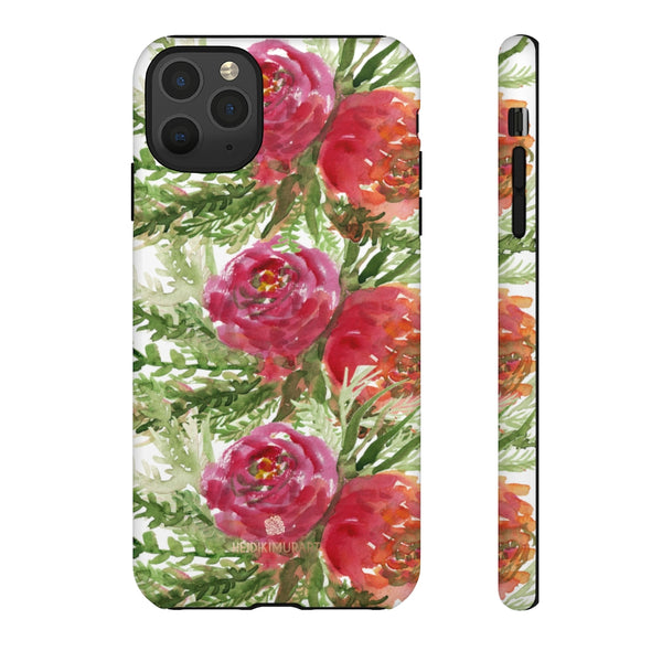 Red Orange Floral Phone Case, Flower Print Tough Designer Phone Case -Made in USA-Phone Case-Printify-iPhone 11 Pro Max-Matte-Heidi Kimura Art LLC
