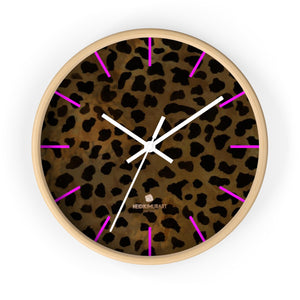 Cheetah Animal Print Designer 10 in. Dia. Indoor Wall Clock- Made in USA-Wall Clock-10 in-Wooden-White-Heidi Kimura Art LLC