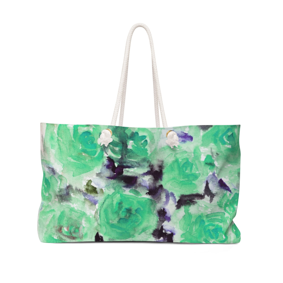 "Dreamy Light Blue Rose Floral Flower Print 24""x13"" Large Weekender Bag-Made in USA-Weekender Bag-24x13-Heidi Kimura Art LLC Blue Floral Weekender Bag, Dreamy Light Blue Rose Floral Flower Print 24""x13"" Large Size Designer Weekender Bag - Made in USA"
