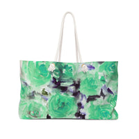 "Dreamy Light Blue Rose Floral Flower Print 24""x13"" Large Weekender Bag-Made in USA - Heidi Kimura Art LLC"