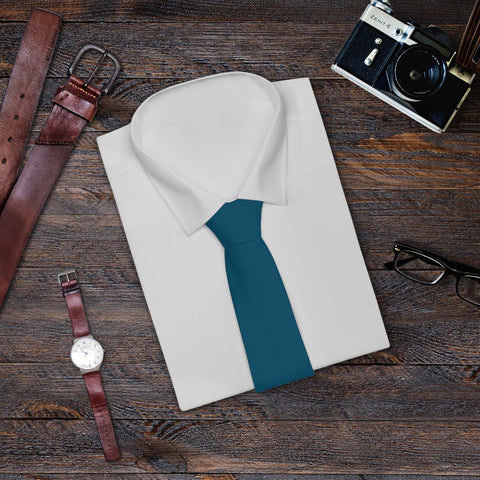 Teal Blue Solid Color Printed Soft Satin Finish Mens Fashion Tie Necktie- Made in USA-Necktie-One Size-Heidi Kimura Art LLC