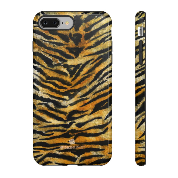 Tiger Stripe Print Phone Case, Animal Print Tough Designer Phone Case -Made in USA-Phone Case-Printify-iPhone 8 Plus-Glossy-Heidi Kimura Art LLC