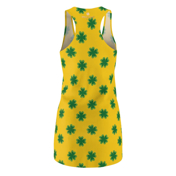 Yellow Green Clover Leaf Print St. Patty's Day Long Women's Racerback Dress-Made in USA-Women's Sleeveless Dress-Heidi Kimura Art LLC