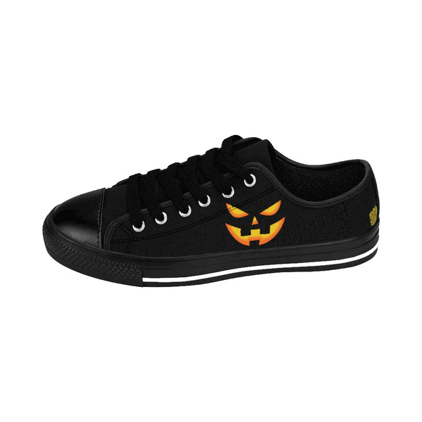 Halloween Creepy Orange Pumpkin Face Premium Women's Casual Fashion Sneakers-Women's Low Top Sneakers-Heidi Kimura Art LLC