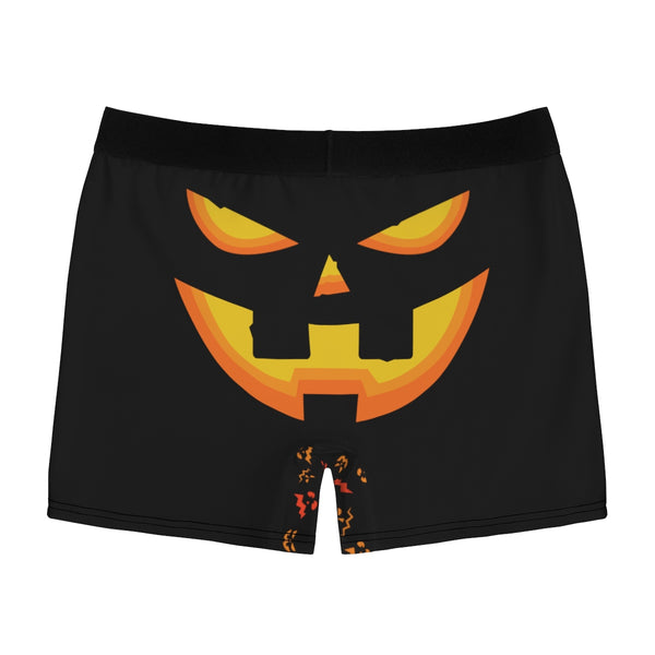 Black Orange Pumpkin Face Halloween Erotic Men's Boxer Briefs Undewear (US Size: XS-3XL)-Men's Underwear-Heidi Kimura Art LLC