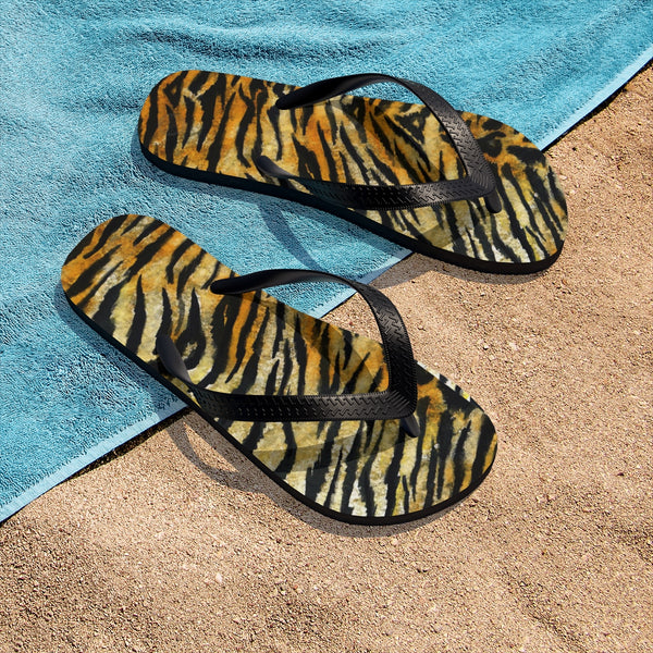 Cute Orange Tiger Stripe Print Animal Print Designer Unisex Flip-Flops - Made in USA-Flip-Flops-Heidi Kimura Art LLC