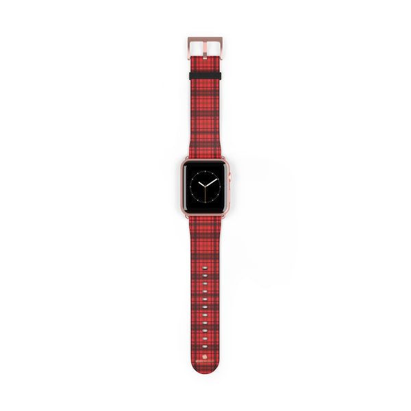 Scottish Red Tartan Plaid Print 38mm/42mm Watch Band For Apple Watch- Made in USA-Watch Band-42 mm-Rose Gold Matte-Heidi Kimura Art LLC